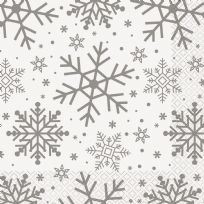 Silver & Gold Holiday Snowflakes Napkins (16)